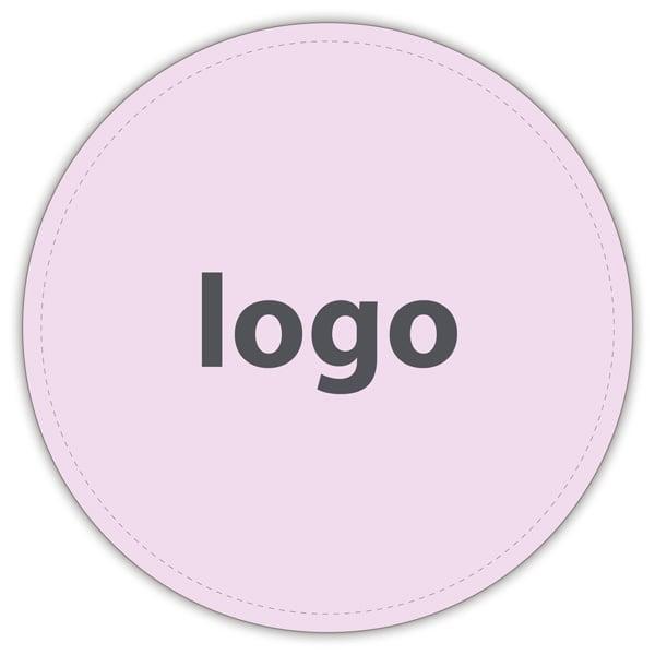 Etiket met logo 022, Rond Mat lichtroze etiket met bedrukking 32 x 32