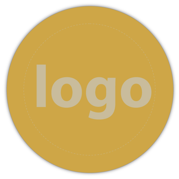Etiket met logo 023, Rond Mat goudkleurig etiket met uw logobedrukking 19 x 19