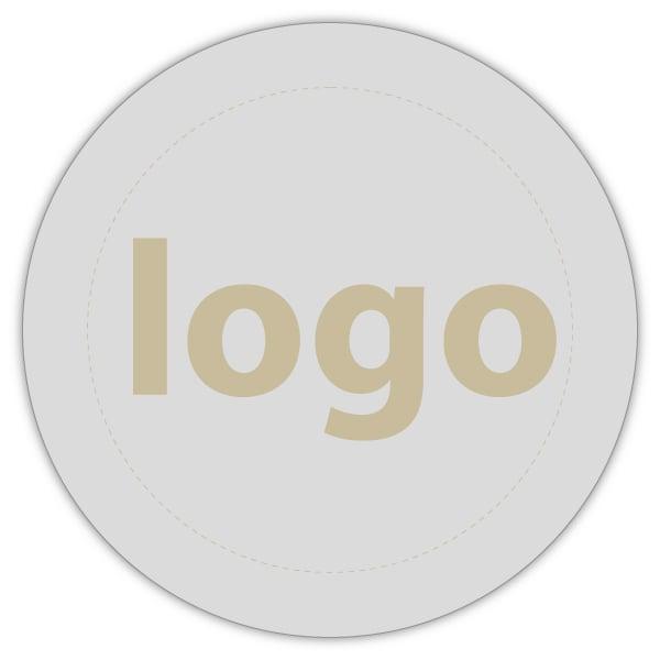 Etiket met logo 023, Rond Mat zilverkleurig etiket met uw logobedrukking 19 x 19