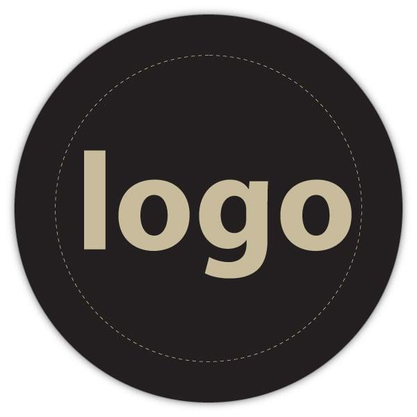 Etiket met logo 023, Rond Mat zwart etiket met uw logobedrukking 19 x 19
