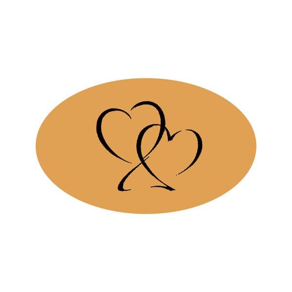 Voorgedrukt etiket met harten, ovaal Mat goudkleurig etiket met bedrukking 39 x 24