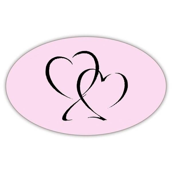 Voorgedrukt etiket met harten, ovaal Mat lichtroze etiket met bedrukking 39 x 24