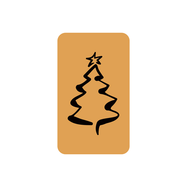 Voorgedrukt etiket met kerstboom, rechthoekig Mat goudkleurig etiket met bedrukking 32 x 19