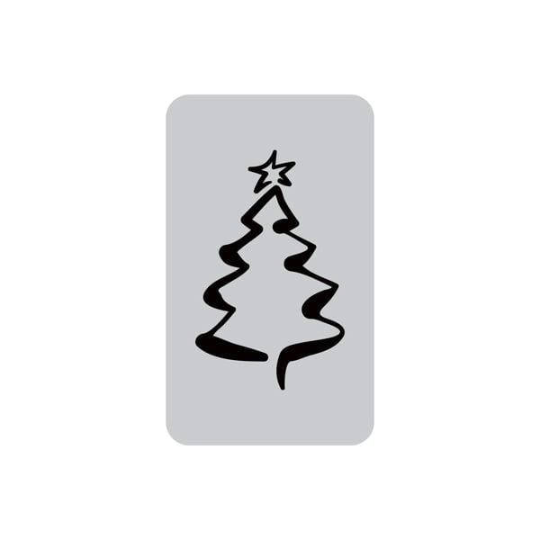 Voorgedrukt etiket met kerstboom, rechthoekig Mat zilverkleurig etiket met bedrukking 32 x 19