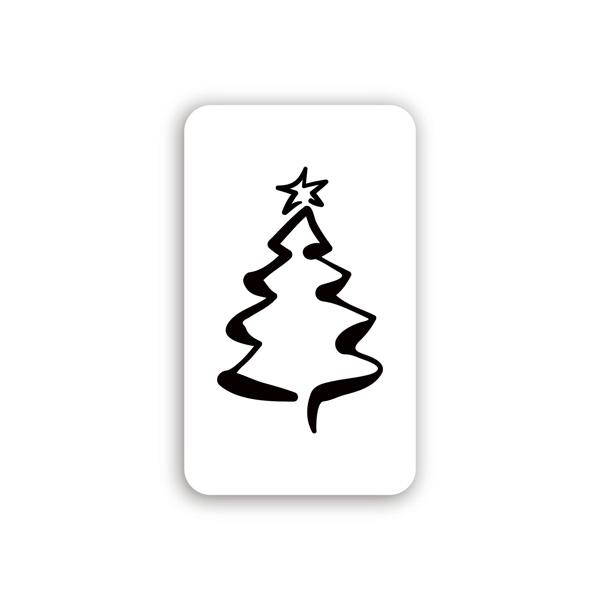 Etiquette adhésives avec un Sapin de Noël Blanc 32 x 19