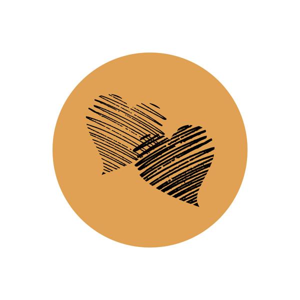 Etiquette adhésives avec des coeurs, ronde Doré 32 x 32