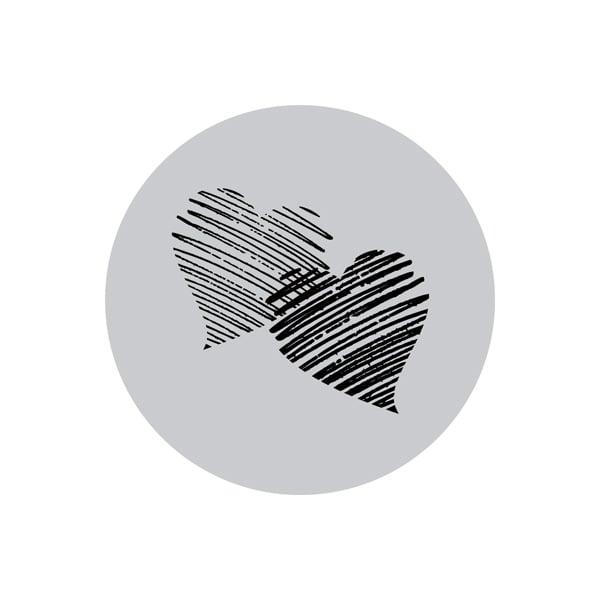 Etiquette adhésives avec des coeurs, ronde Argent 32 x 32