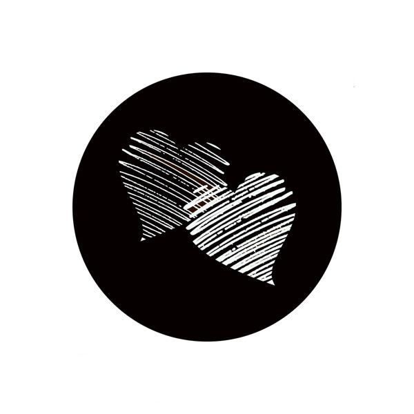 Etiquette adhésives avec des coeurs, ronde Noir 32 x 32