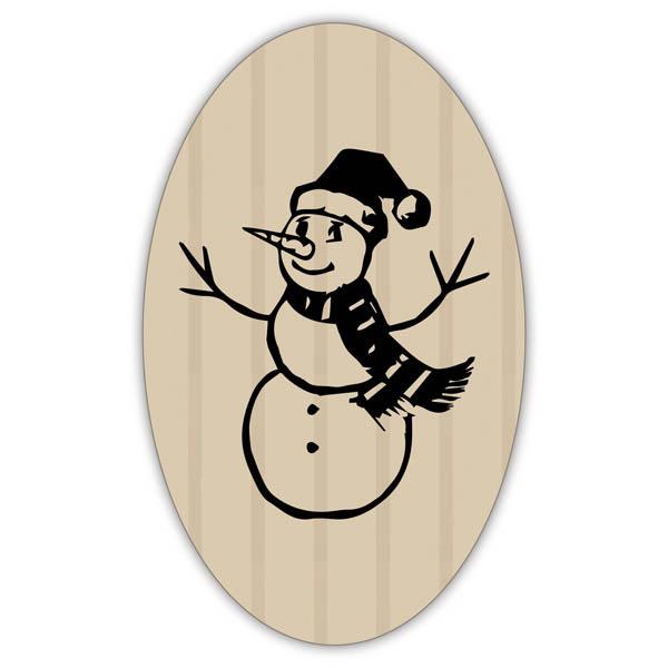 Etiquettes adhésives avec un bonhomme de neige Papier havane vergé mat 39 x 24