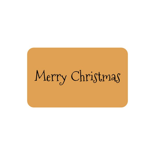 Voorgedrukt etiket Merry Christmas, rechthoek Mat goudkleurig etiket met bedrukking 32 x 19