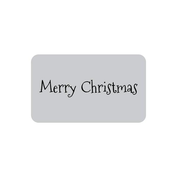 Voorgedrukt etiket Merry Christmas, rechthoek Mat zilverkleurig etiket met bedrukking 32 x 19