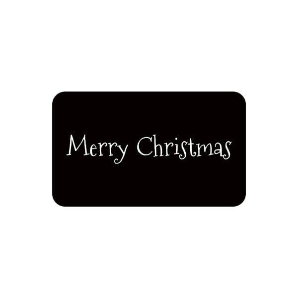Voorgedrukt etiket Merry Christmas, rechthoek Mat zwart etiket met bedrukking 32 x 19