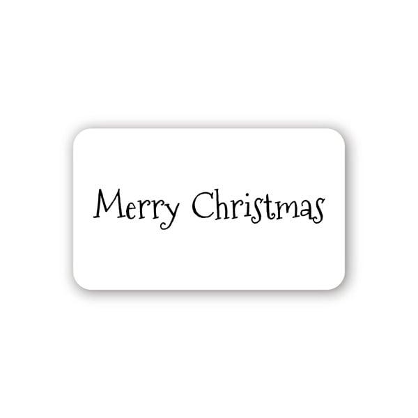 Voorgedrukt etiket Merry Christmas, rechthoek Mat wit etiket met bedrukking 32 x 19