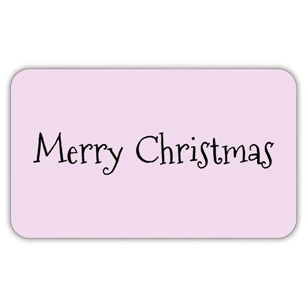 Voorgedrukt etiket Merry Christmas, rechthoek Mat lichtroze etiket met bedrukking 32 x 19