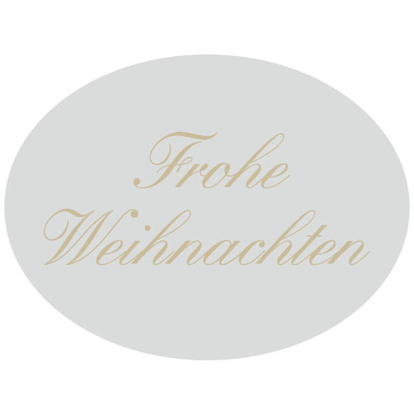 Oval label with German text: Frohe Weihnachten Silver, 1000 pcs/roll 28 x 21