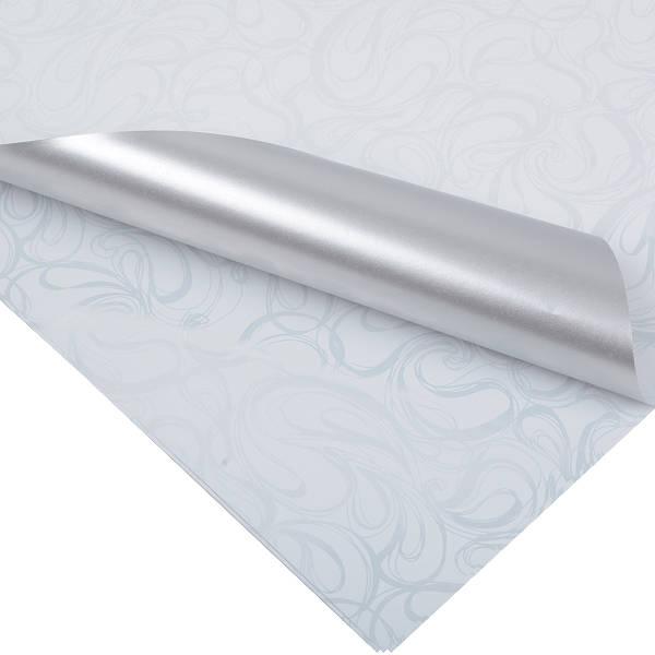 Cadeaupapier 0176 Wit met krullenpatroon/ mat zilver, dubbelzijdig  70 cm x 50 cm