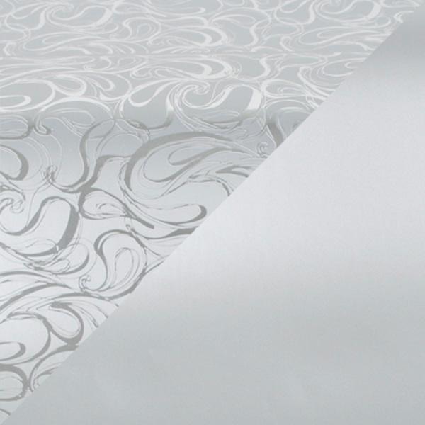 Cadeaupapier 1750 Zilver met krullenpatroon/mat zilver, dubbelzijdig  50 cm - 160 m