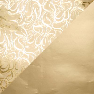 Cadeaupapier 1751 Goud met krullenpatroon/ mat goud, dubbelzijdig  30 cm - 160 m