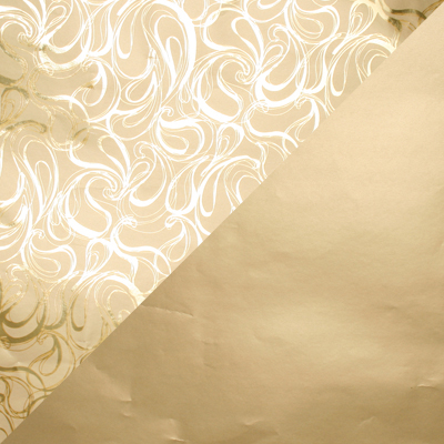 Papier cadeau nº 1751 Or avec motif bouclé/ or mat, réversible  40 cm - 160 m