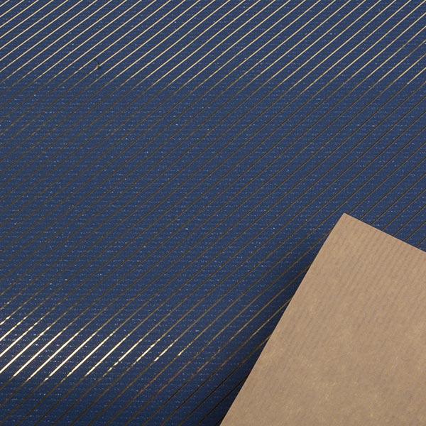 Cadeaupapier nº 1870 Blauw met gouden strepen  50 cm - 100 m
