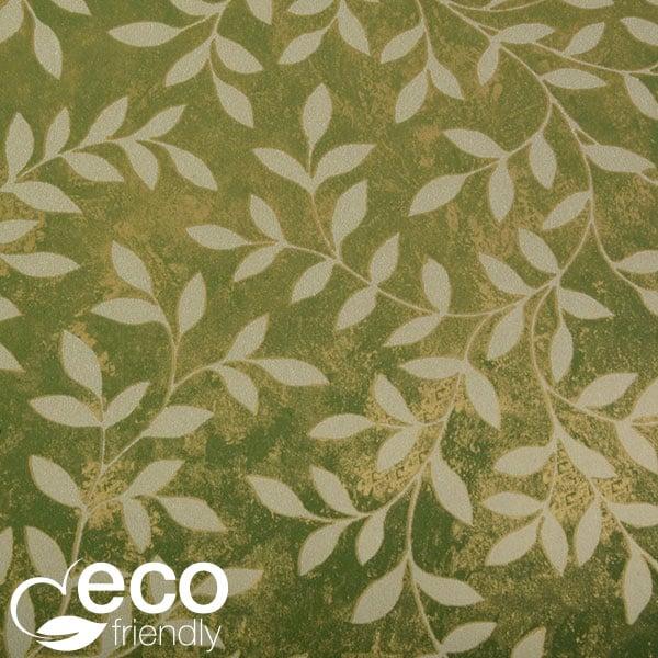 Papier cadeau écologique nº 1876 Vert/doré avec imprimé feuille  50 cm - 100 m