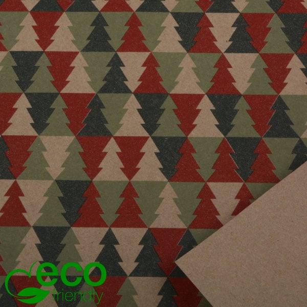Milieuvriendelijk cadeaupapier nº 2601 ECO Kerstmotief in groen, rood en bruin  40 cm - 100 m