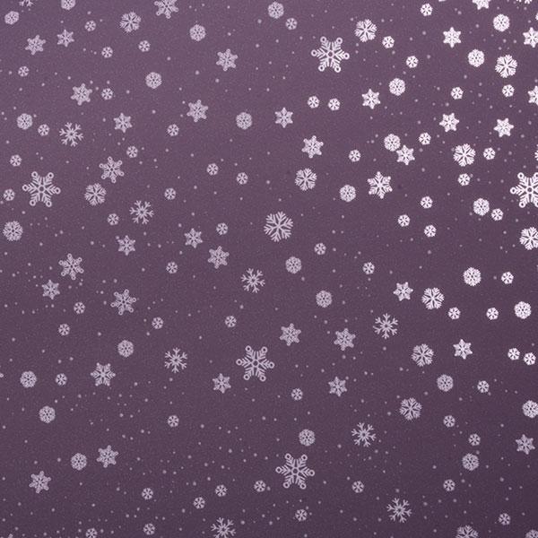 Cadeaupapier voor de feestdagen 3606 Mat lavendel met glanzend lila sneeuwvlokjes  20 cm - 100 m - 80 g