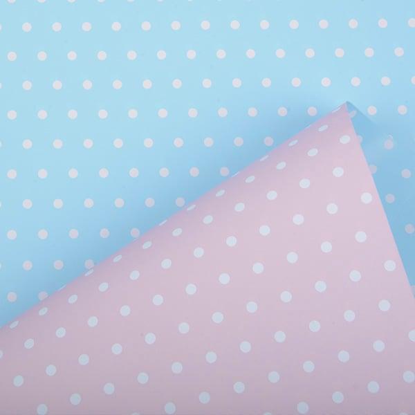 Papier cadeau nº pour les enfants 6301 Rose clair / Blue clair avec pois, réversible  30 cm - 160 m