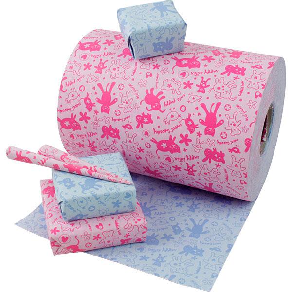 Cadeaupapier 8932 voor kinderen 8932 Dubbelzijdig papier met patroon in roze / blauw  20 cm - 160 m - 70 g