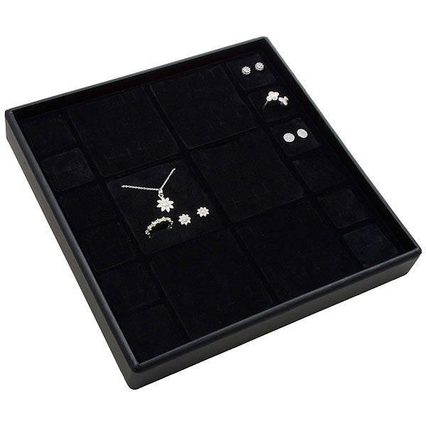 Moyen plateau présentation: Assorti de bijoux Plateau noir / Intérieur mousse noire 235 x 235 x 32 Insert: 67x70/31,9x31,9x10