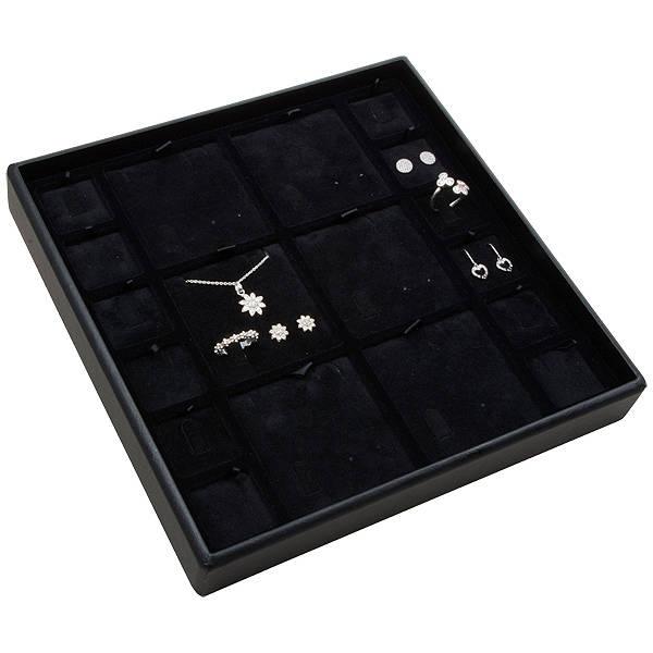 Moyen plateau présentation: Assorti de bijoux Plateau noir / Intérieur velours noir 235 x 235 x 32 Insert: 67x70/31,9x31,9x6
