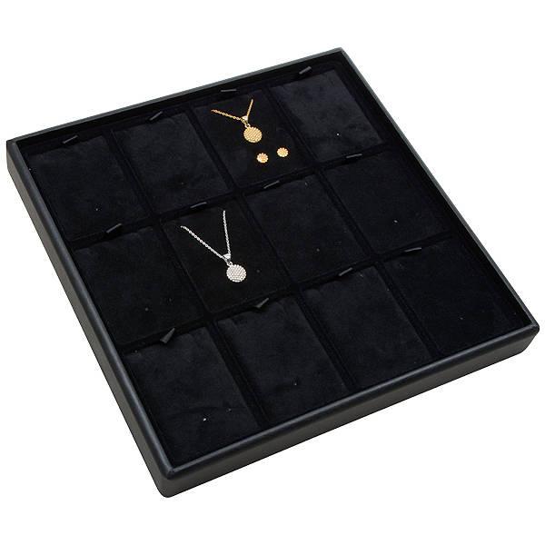 Medium tableau voor 12x sieradenset, staand Zwarte Partitie / Zwarte Velours Insert 235 x 235 x 28 Insert: 51,9x70x6 mm