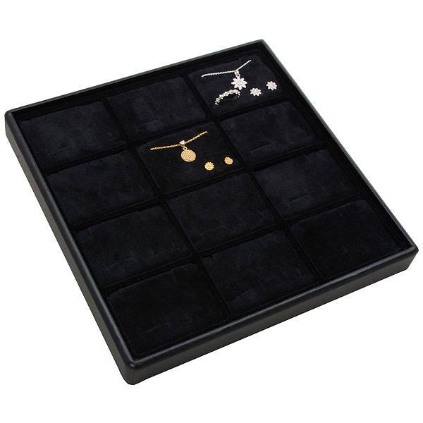 Medium tableau voor 12x sieradenset, liggend Zwarte Partitie / Zwarte Foam Insert 235 x 235 x 28 Insert: 70x51,9x10