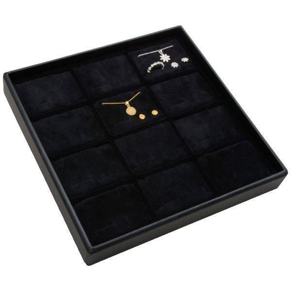 Moyen plateau présentation: 12x parures 3 pièces Plateau noir / Intérieur mousse noire 235 x 235 x 32 Insert: 70x51,9x10