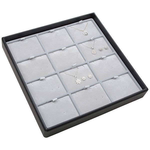Moyen plateau présentation: 12x parures 3 pièces Plateau gris / Intérieur velours gris clair 235 x 235 x 32 Insert: 70x51,9x6 mm