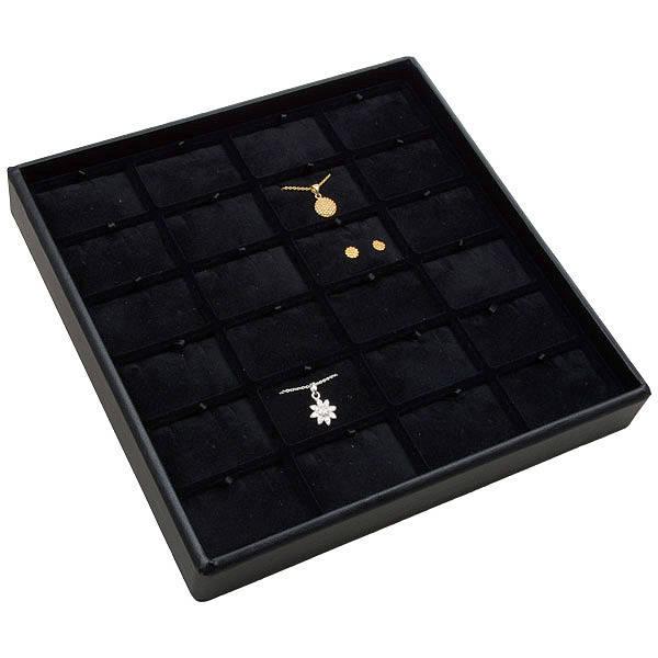 Medium tableau voor 24x sieradenset Zwarte Partitie / Zwarte Velours Insert 235 x 235 x 32 Insert: 51,9x33,3x6mm