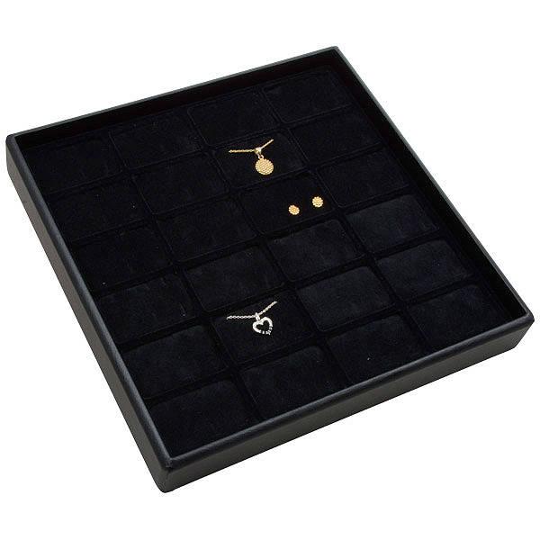 Medium tableau voor 24x sieradenset Zwarte Partitie / Zwarte Foam Insert 235 x 235 x 32 Insert: 51,9x33,3x10mm