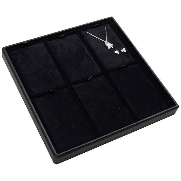 Moyen plateau présentation: 6x parures 3 pièces Plateau noir / Intérieur velours noir 235 x 235 x 28 Insert: 66,5x106,6x6mm