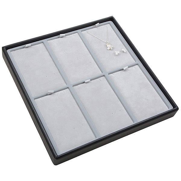 Moyen plateau présentation: 6x parures 3 pièces Plateau noir / Intérieur velours gris clair 235 x 235 x 28 Insert: 66,5x106,6x6mm