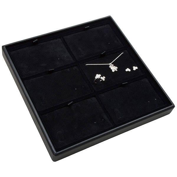 Medium tableau voor 6x sieradenset, liggend Zwarte Partitie / Zwarte Velours Insert 235 x 235 x 28 Insert: 106,6x66,6x6mm