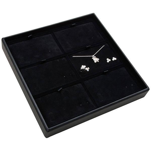 Medium tableau voor 6x sieradenset, liggend Zwarte Partitie / Zwarte Velours Insert 235 x 235 x 32 Insert: 106,6x66,6x6mm