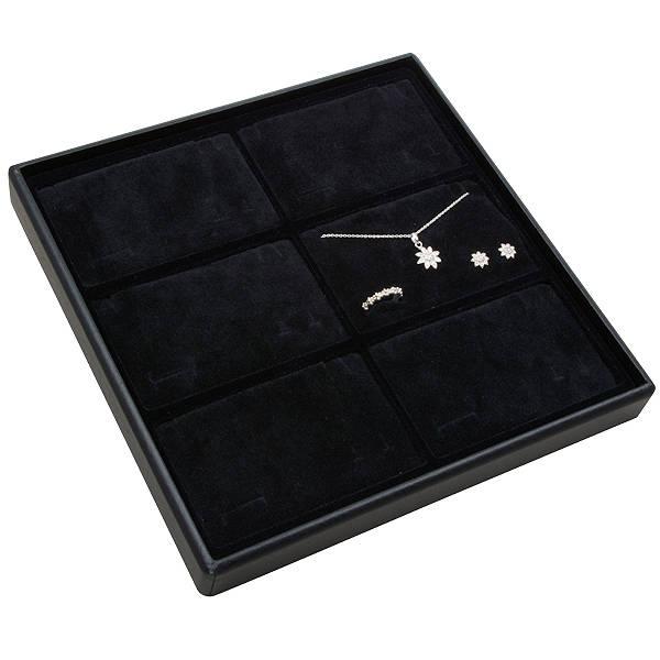 Medium tableau voor 6x sieradenset, liggend Zwarte Partitie / Zwarte Foam Insert 235 x 235 x 28 Insert: 106,6x66,6x10mm
