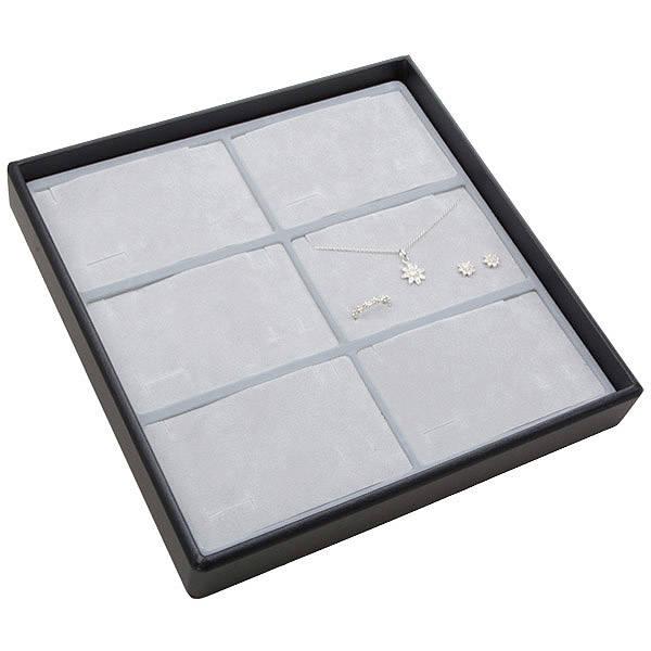 Moyen plateau présentation: 6x parures 3 pièces Plateau noir / Intérieur mousse gris clair 235 x 235 x 32 Insert: 106,6x66,6x10mm