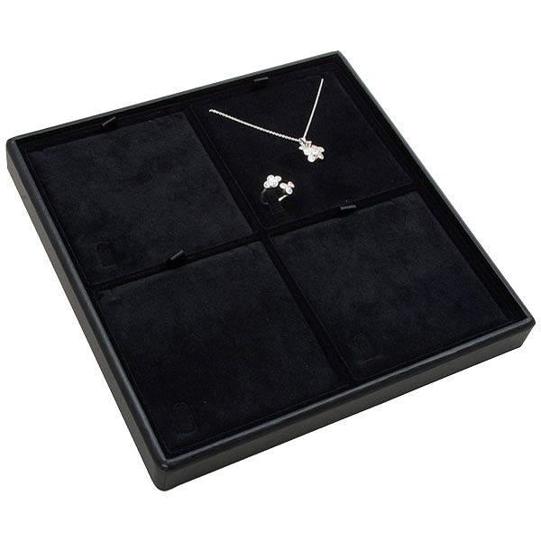 Medium tableau voor 4x sieradenset Zwarte Partitie / Zwarte Velours Insert 235 x 235 x 28 Insert: 106,6x106,6x6 mm