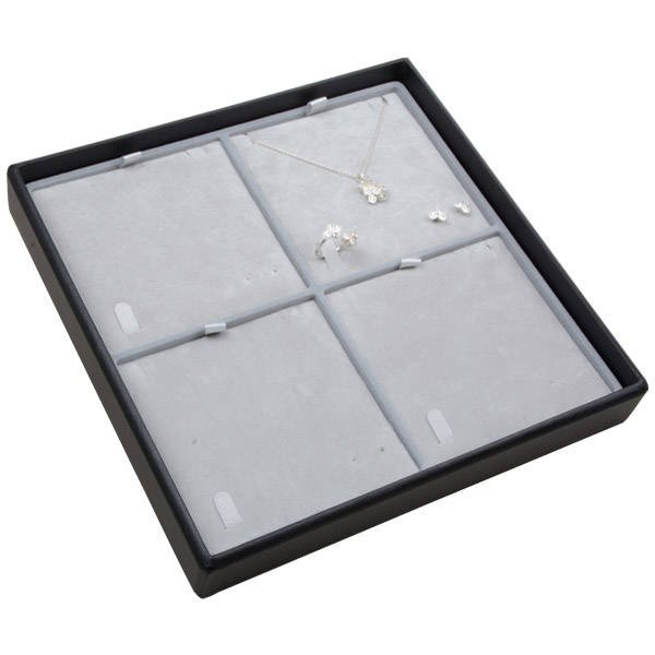 Medium tableau voor 4x sieradenset Lichtgrijze Partitie / Lichtgrijze Velours Insert 235 x 235 x 32 Insert: 106,6x106,6x6 mm