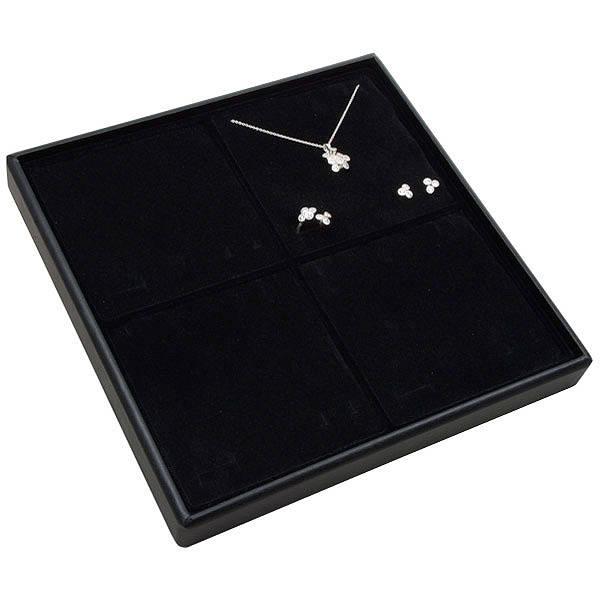 Medium tableau voor 4x sieradenset Zwarte Partitie / Zwarte Foam Insert 235 x 235 x 28 Insert: 106,6x106,6x10