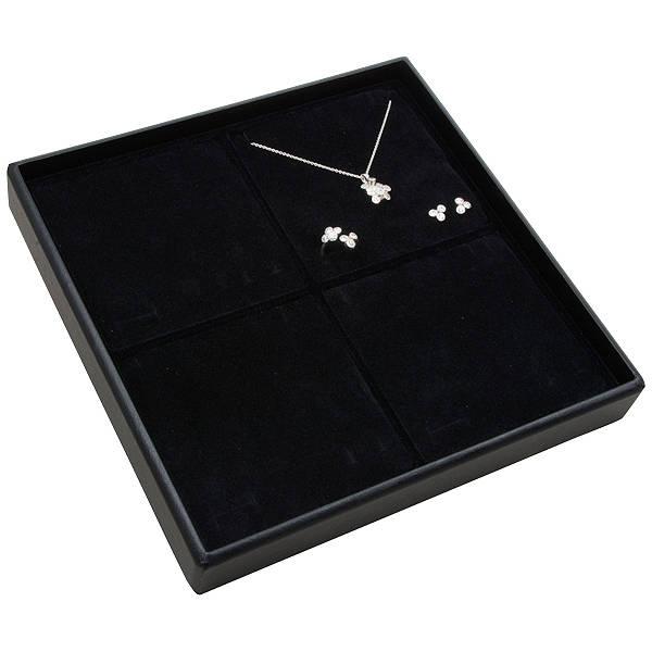Medium tableau voor 4x sieradenset Zwarte Partitie / Zwarte Foam Insert 235 x 235 x 32 Insert: 106,6x106,6x10