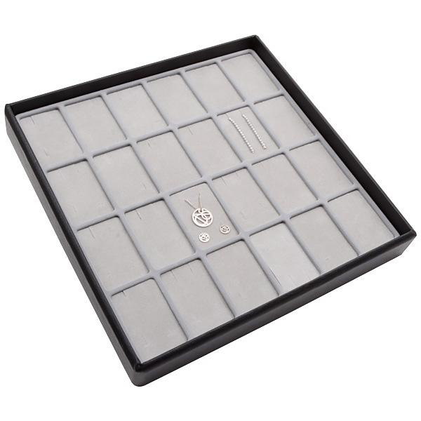 Medium tableau voor 24x sieradenset, verticaal Lichtgrijze Partitie / Lichtgrijze Foam Insert 235 x 235 x 32 Insert: 33,3x51,9 x 10 mm