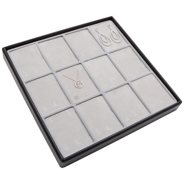 Medium tableau voor 12x sieradenset, verticaal Lichtgrijze Partitie / Lichtgrijze Foam Insert 235 x 235 x 28 Insert: 70x51,9x10