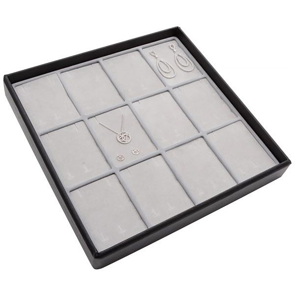 Medium tableau voor 12x sieradenset, verticaal Lichtgrijze Partitie / Lichtgrijze Foam Insert 235 x 235 x 32 Insert: 70x51,9x10